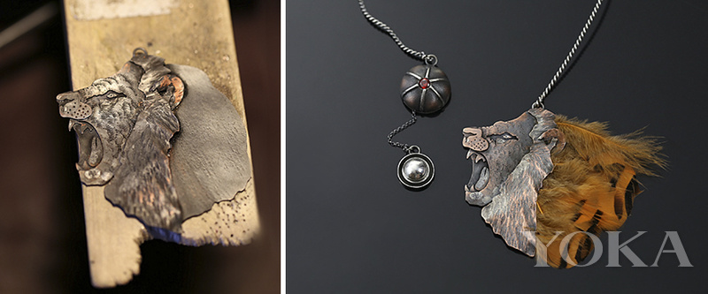 她让素描动了起来 这些动物造型银项链太逼真