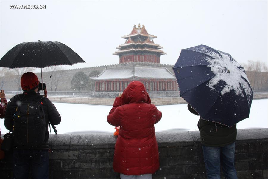 Beijing embraces snowfall (1)